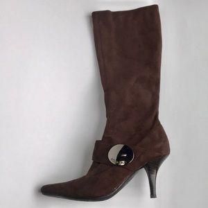 BCBGirls Brown Stretch Suede Boots SILVIA